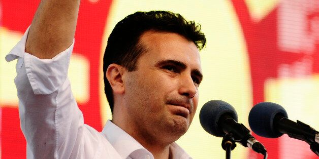 Opposition Social Democrat leader Zoran Zaev delivers a speech during an anti-government demonstration...