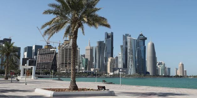 A general view taken on June 5, 2017 shows the corniche in Doha. Arab nations including Saudi Arabia...