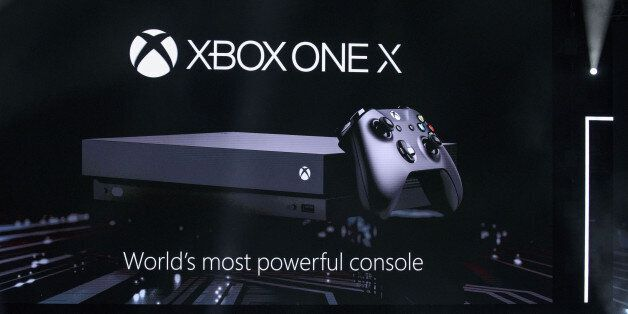 Microsoft Corp.'s Xbox One X video game console is revealed during the company's event ahead of the E3...