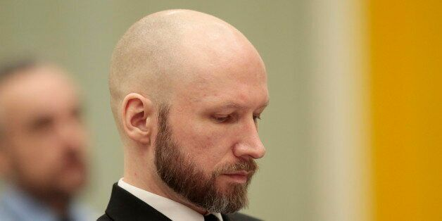 Mass murderer Anders Behring Breivik is pictured on the third day of the appeal case in Borgarting Court...
