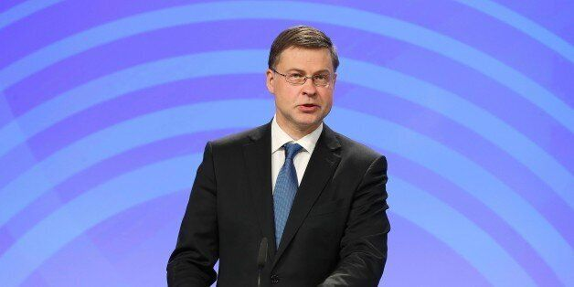 BRUSSELS, BELGIUM - MAY 22: Vice-President of the European Commission, Valdis Dombrovskis speaks during...