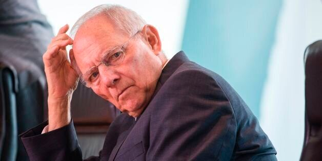 German finance minister Wolfgang Schaeuble attends the weekly cabinet meeting at the Chancellery in Berlin...
