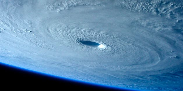 Typhoon Maysak is seen as it strengthens into a Category 5 hurricane in this picture taken by ESA Astronaut...