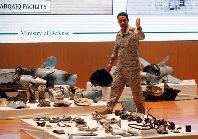 Saudi military spokesman Col. Turki al-Malki displays what he describes as an Iranian cruise missile...