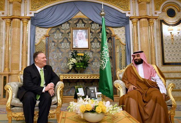 U.S. Secretary of State Mike Pompeo, left, meets with Saudi Arabia's Crown Prince Mohammed bin Salman...