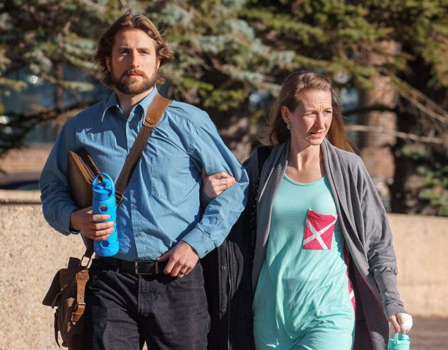 David Stephan and his wife Collet Stephan arrive at court in Lethbridge, Alta. on March 10,