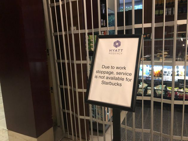 A sign outside of the Starbucks in the lobby of the Hyatt Regency hotel in
