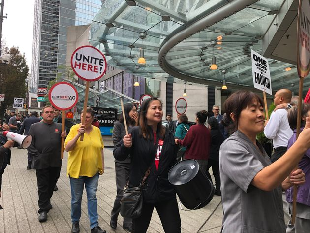 Workers from the Hyatt Regency Vancouver participate in a picket action on Friday, Sept.