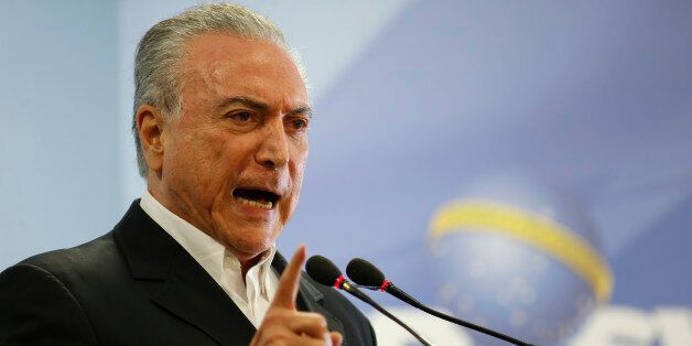 BRASILIA, BRAZIL - MAY 20: Brazilian President Michel Temer delivers a new statement following the release...