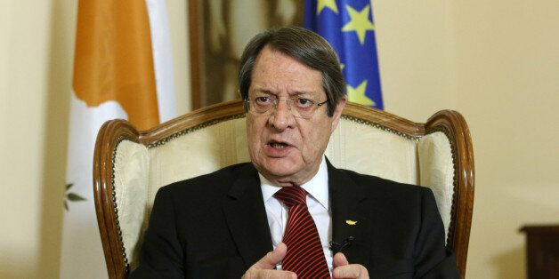 Cypriot President Nicos Anastasiades speaks during an interview with Reuters at the Presidential Palace...