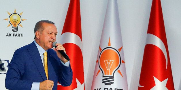 Turkish President Tayyip Erdogan makes a speech during the Extraordinary Congress of the ruling AK Party...