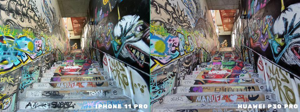 Ultra grand-angle, iPhone 11 Pro (gauche) vs Huawei P30 Pro