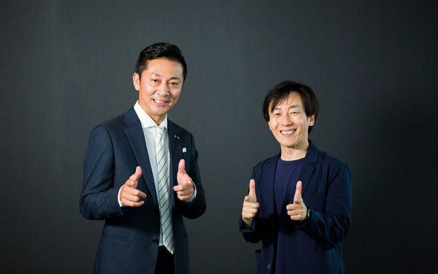 (左から)株式会社千葉ジェッツふなばし代表取締役社長・島田慎二さん、サイボウズ代表取締役社長・青野慶久さん