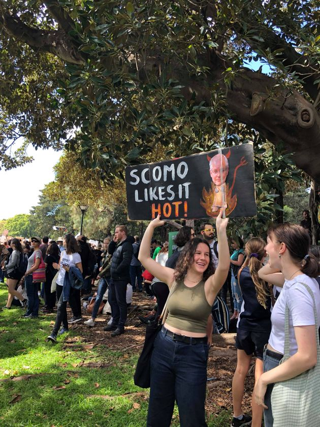 Many signs at the Sydney march took aim at Aussie Prime Minster Scott