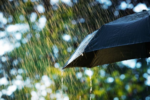 Close up of umbrella in the rain with copy