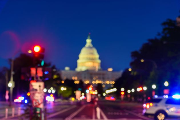 Close up of The United States Capitol Building with Blurred Background, Washington