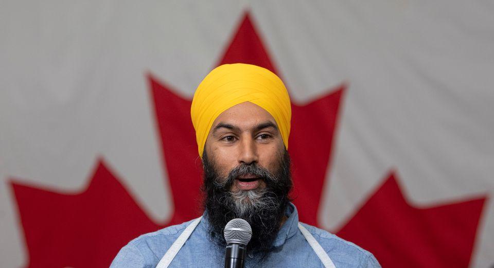 NDP Leader Jagmeet Singh speaks during a town hall meeting in Sudbury, Ontario, on Tuesday, Sept. 17,...