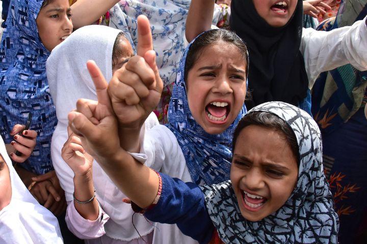 Kashmiri kids during protests in Srinagar on 30 August 2019.