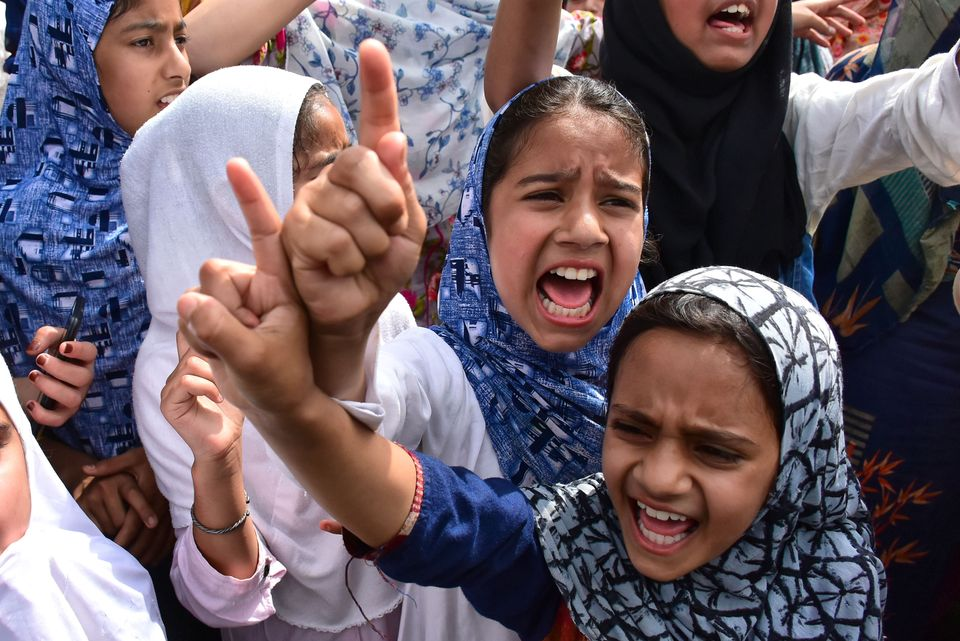 Kashmiri kids during protests in Srinagar on 30 August