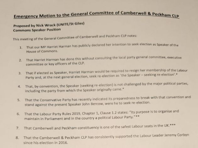 Harriet Harman motion passed by her local