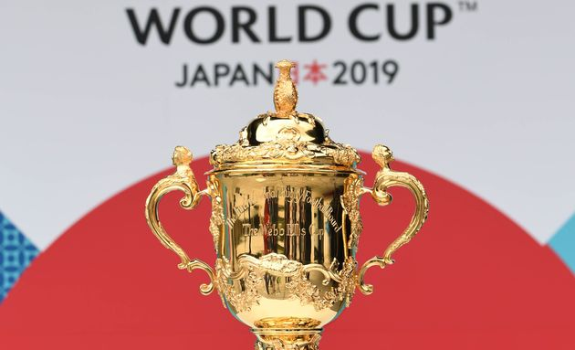 KYOTO, JAPAN - MAY 10: The William Webb Ellis Cup is displayed during the Rugby World Cup Pool Draw at...