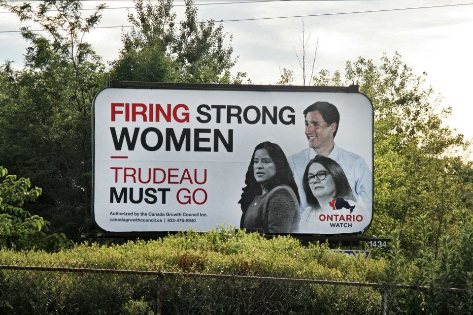 Billboard urging Canadians not to re-elect Canadian Prime Minister Justin Trudeau in the upcoming federal...