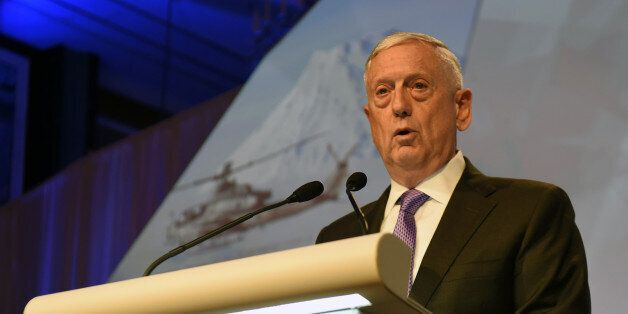 US Pentagon chief Jim Mattis delivers his speech during the first plenary session at the 16th Institute...