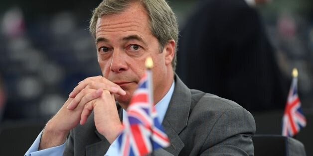 Former leader of the UK Independence Party (UKIP) Nigel Farage looks on prior to a debate on the conclusions...