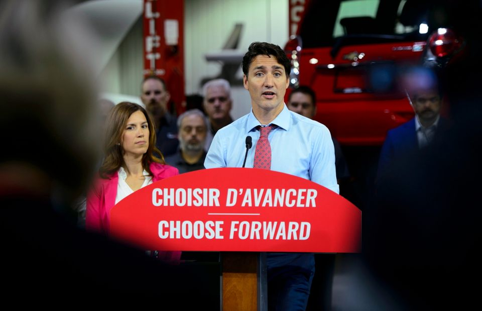 Liberal Leader Justin Trudeau makes a policy announcement and holds a media availability at an electric...