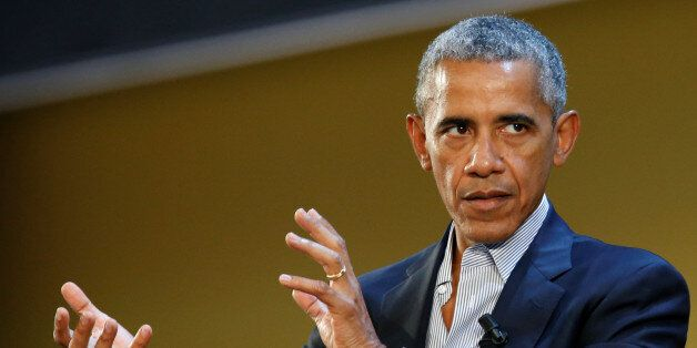 Former U.S. President Barack Obama talks during the Global Food Innovation Summit in Milan, Italy May...