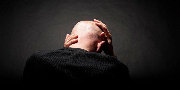 man's head on black