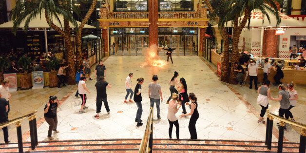People take part in a police drill simulating an armed attack on the Intu Trafford Centre shopping centre...