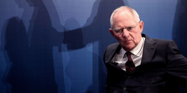 German Finance Minister Wolfgang Schaeuble attends a German-Greek chamber of industry meeting in Athens,...
