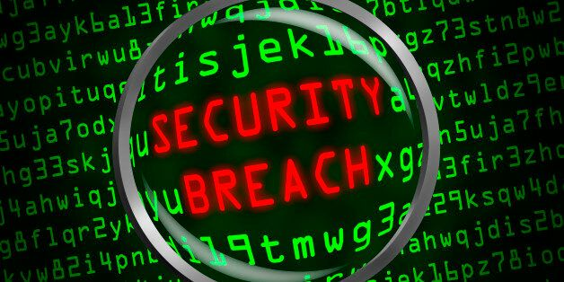 Red word 'SECURITY BREACH' revealed revealed in green computer machine code through a magnifying