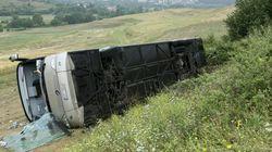 Ανετράπη λεωφορείο με μαθητές στις Σέρρες. Ελαφροί τραυματισμοί παιδιών και