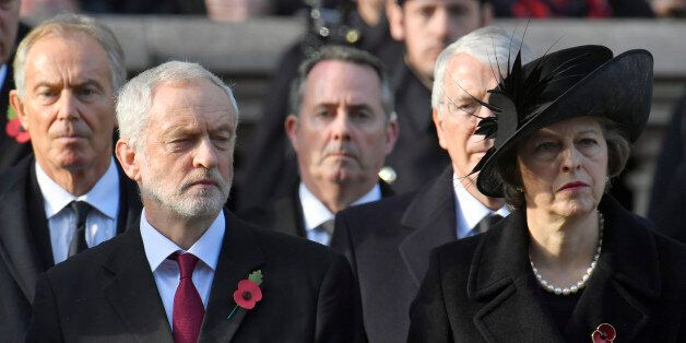 (L-R) Former British Prime Minister Tony Blair, the leader of the opposition Labour Party, Jeremy Corbyn,...