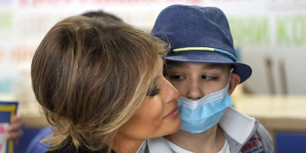 ROME, ITALY - MAY 24: US First Lady Melania Trump Visits the Paediatric Hospital Bambin Ges on May...