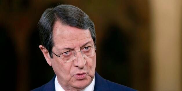 Cypriot President Nicos Anastasiades talks during a televised news conference at the presidential palace...