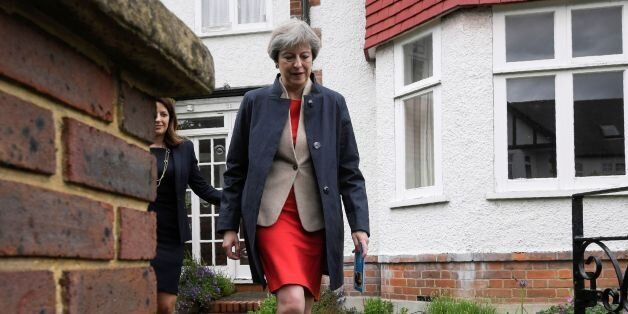 British Prime Minister Theresa May goes canvassing door to door with local Conservative candidate Joy...