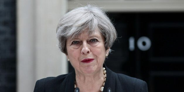 Theresa May, U.K. prime minister, delivers a statement outside number 10 Downing Street in London, U.K.,...