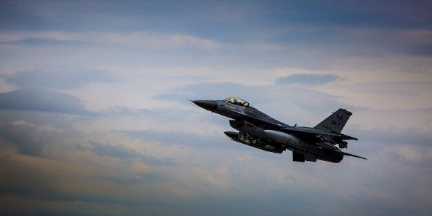 KONYA, TURKEY - MAY 12: A F-16 plane belonging to the Turkish Air Forces is seen in the sky during the...