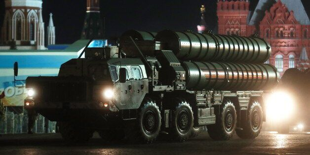 MOSCOW, RUSSIA MAY 3, 2017: An S-400 Triumf anti-aircraft missile system participates in a night rehearsal...