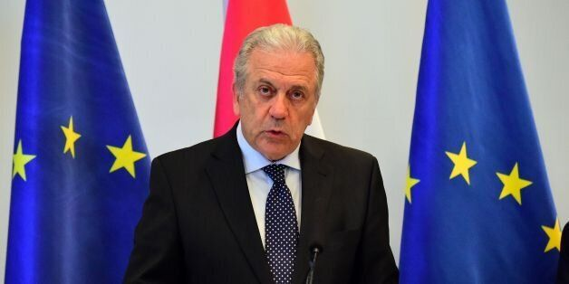European Commissioner for Migration, Home Affairs and Citizenship Greek Dimitris Avramopoulos and his...