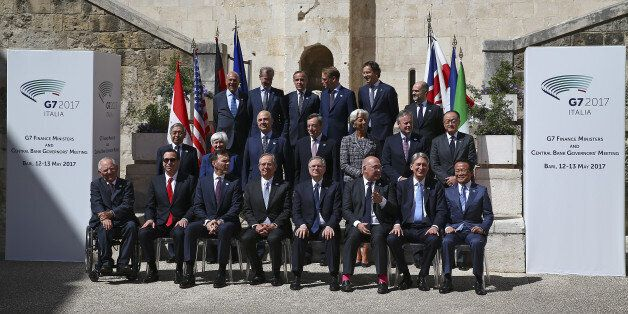 Financial ministers and bank governors pose for a family photo during the G7 for Financial ministers...