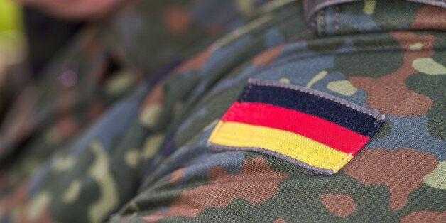 german flag on german army