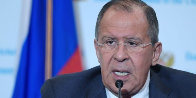 Russia's Foreign Minister Sergei Lavrov speaks during a press conference at the Embassy of Russia in...