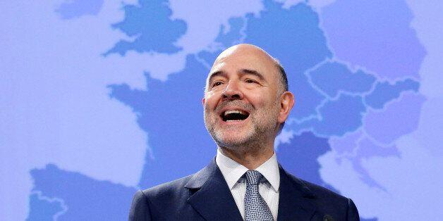 European Economic and Financial Affairs Commissioner Pierre Moscovici presents the EU executive's economic...
