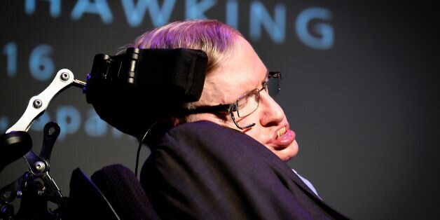 British theoretical physicist professor Stephen Hawking gives a lecture entitled: 'A Brief History of...