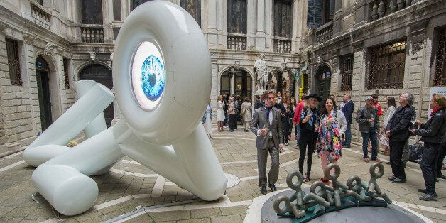 VENICE, ITALY - MAY 12: Visitors looks the installation to Lina Condes at Palazzo Pisani opening at Art...