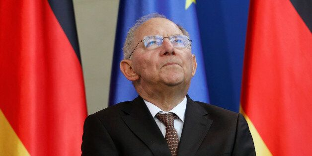 German Finance Minister Wolfgang Schaeuble attends a presentation of a newly designed 2-Euro coin at...